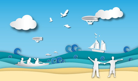 people welcome to the beach with sea view and boatman outdoor background of paper art style,vector or illustration with travel concept