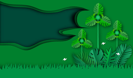 Green frame of paper art style with turbine and leaves pattern for nature background,tropical leaf tree textured, conservation energy and fresh air concept,vector or illustration style