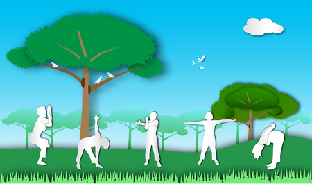 People exercising in the park of paper art style,vector or illustration with health concept Stock Photo