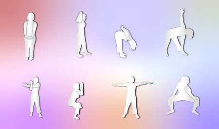 People exercising with colorful gradient holographic background of paper art style,vector or illustration with health concept