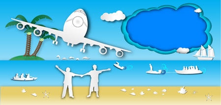 people welcome and passenger plane to the beach with sea view and boatman outdoor background of paper art style,vector or illustration with travel concept,blue frame and copy space