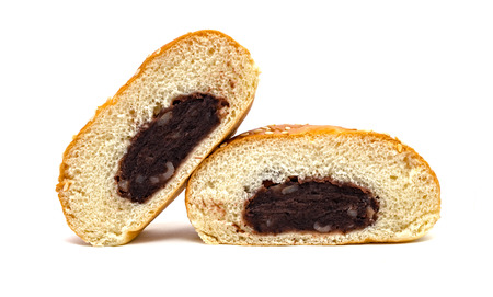 Red Bean Paste Bread isolated on white background Stock Photo