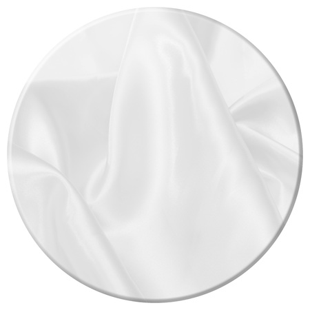 top round table with white satin fabric texture soft blur background