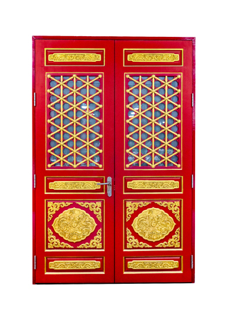 red wooden door of chinese style isolated on white background,clipping path