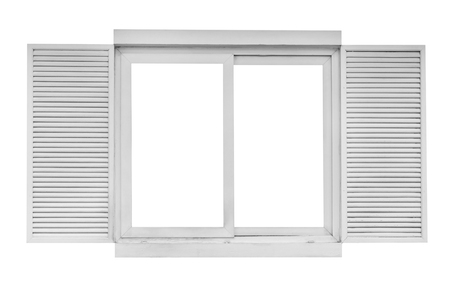 wooden window isolated on white background,include clipping path
