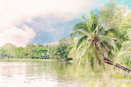 Coconut trees on the River side ,watercolor digital painting style