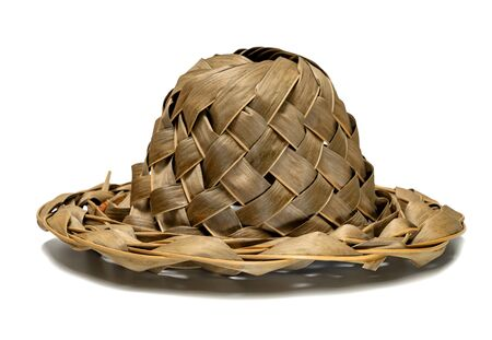 Hat handmade from coconut leaves isolated on white background
