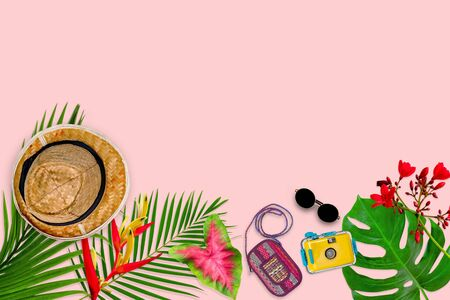 accessories composition for summer concept with tropical palm leaves on pastel pink background, top view and copy space 版權商用圖片