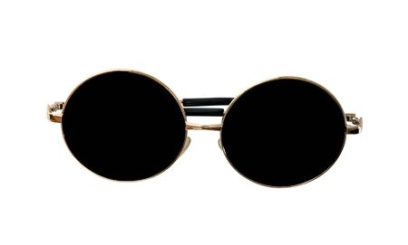 closeup golden sunglasses  isolated on white background