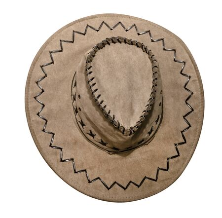 cowboy hat isolated on white background, top view