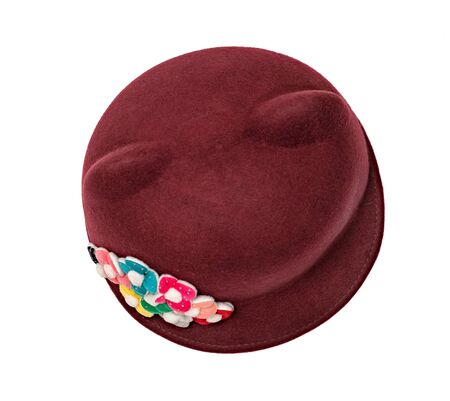 red hat with flower isolated on white background