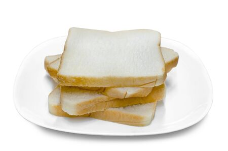 sliced bread on white plate isolated on white background ,