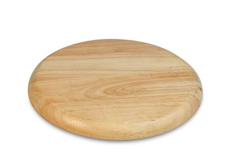 Wooden plate isolated on white background Foto de archivo