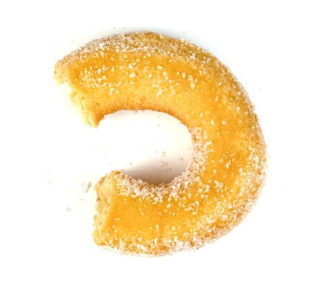 Bitten sugar ring donut isolated on white background