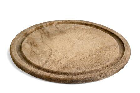 Plaque en bois isolée sur fond blanc, inclure un tracé de détourage