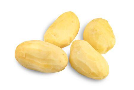 peeled potatoes isolated on white background