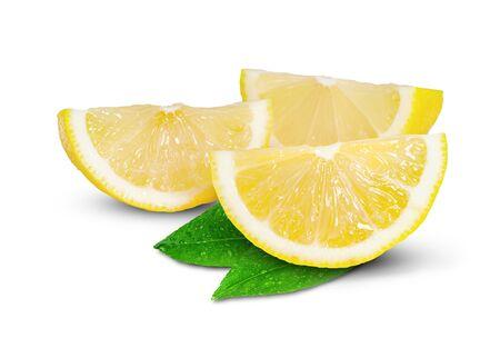 Lemon with leaf isolated on white background Stock fotó