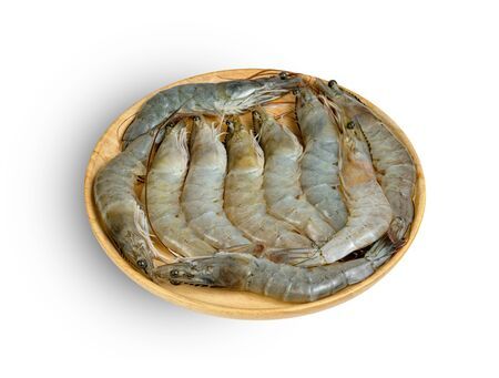 shrimp raw with wooden plate isolated on white background ,include clipping path