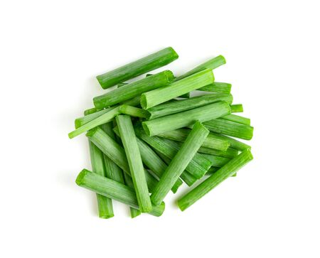 leaf spring onion isolated on white background ,Green leaves pattern Stock Photo