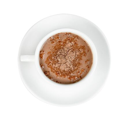 hot chocolate with coffee cup  isolated on white background ,include clipping path