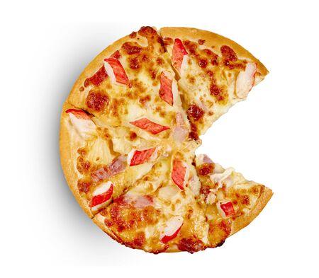 Ham&Crab Sticks pizza on isolated on white background