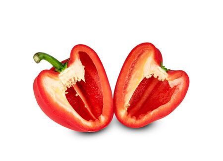 red chopped sweet bell pepper isolated on white background  ,include clipping path Stock Photo