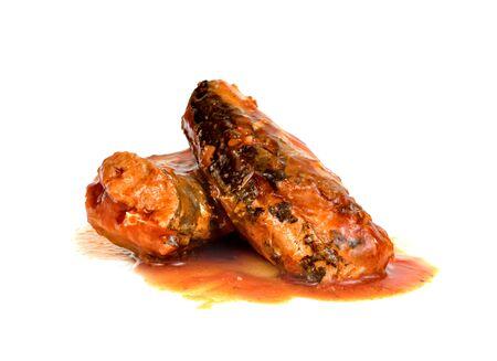 mackerel in tomato sauce isolated on white background