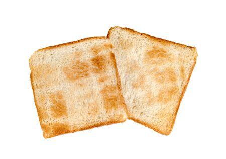 Toasted slice bread isolated on white background  Stock Photo