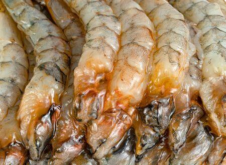 close up peeled shrimp raw isolated on white background