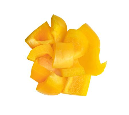 Yellow slice sweet bell pepper isolated on white background Stock Photo