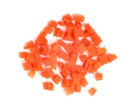 chopped carrot isolated on white background Stock Photo