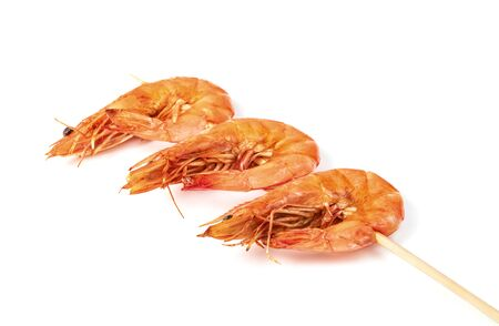roasted prawn with skewer isolated on white background ,grilled shrimp