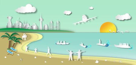 The plane is landing to the beach with landscape cityscape and boatman outdoor background of paper art style, vector or illustration with travel concept