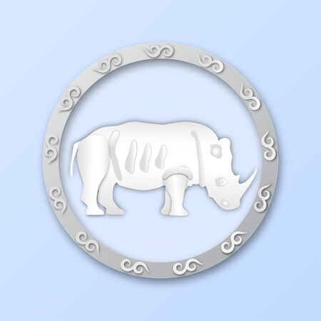 Logo pattern with round frame and white rhino pattern for wild animal concept,vector or illustration with paper art style