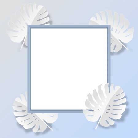 Square frame with white monstera leaves pattern for nature concept,tropical leaf on monochrome gradient background,vector or illustration with paper art style