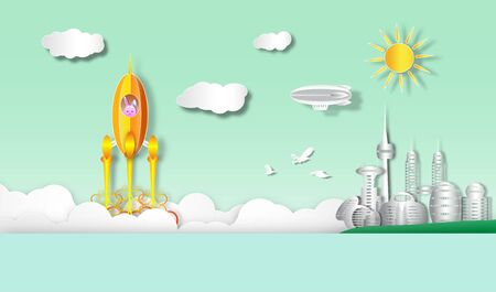 start up of rocket flying from earth to space with landscape cityscape ,vector or illustration with paper art style