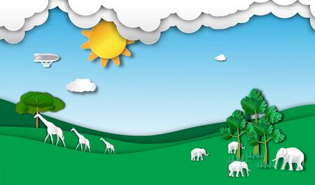 giraffe and elephant horde in forest of paper art style,vector or illustration with travel or forest conservation concept