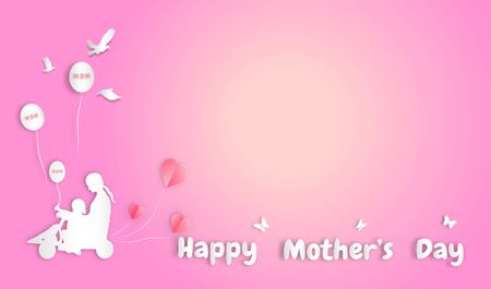 Happy mother's day with paper art style holiday design ,vector or illustration