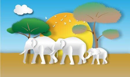 Elephant horde in forest of paper art style,vector or illustration with conserve wildlife reserve concept Vektoros illusztráció