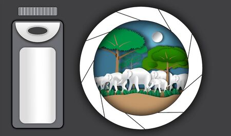 Elephant horde in forest with camera of paper art style,vector or illustration with conserve wildlife reserve or travel concept Illustration