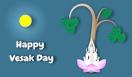 Happy Vesak day, Buddha with leaves of bodhi tree ,paper art style ,vector or illustration