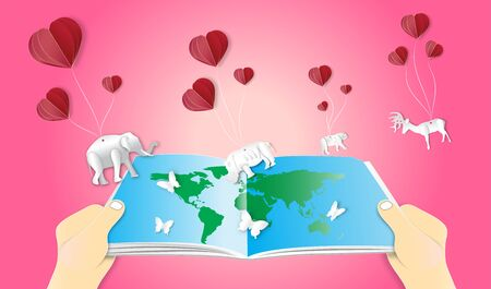 World environment or wildlife day with animal in nature of paper art style ,vector or illustration with travel or forest conservation concept 向量圖像