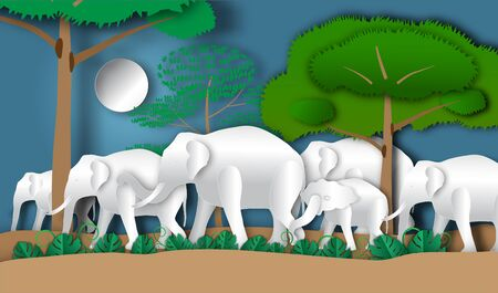 Elephant horde in forest of paper art style,vector or illustration with conserve wildlife reserve concept