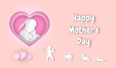 Happy mother's day with paper art style holiday design,vector or illustration