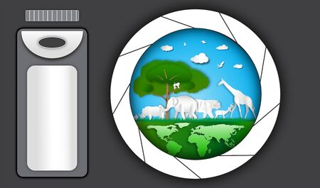 World environment or wildlife day with animal in nature with camera of paper art style ,vector or illustration with travel or forest conservation concept