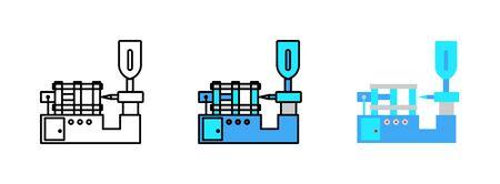 Icono de moldeo por inyección aislado sobre fondo blanco para diseño web