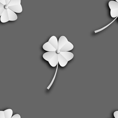 leaves seamless pattern of clover, leaf  shamrock isolated on grey  backgrounds of paper art style ,vector or illustration Ilustracja