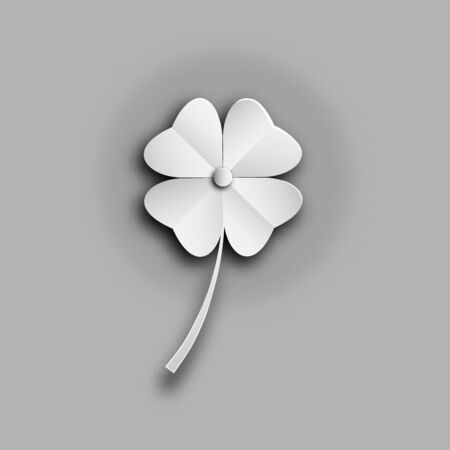 clover leaves pattern or leaf shamrock isolated on grey  backgrounds of paper art style ,vector or illustration  Ilustracja