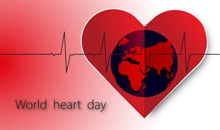 World heart day with heart and pulse and globe on red white background ,vector or illustration with health love concept