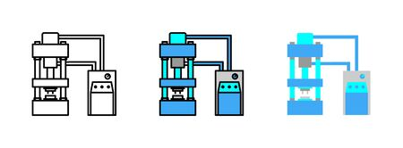 hydraulic press machine icon set isolated on white background for web design Vecteurs